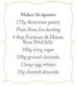Almond and rose petal squares