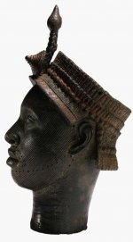 Brass head with beaded crown and plume
