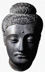 Head from a statue of the Buddha