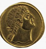 Gold medallion showing Constantine the Great at prayer