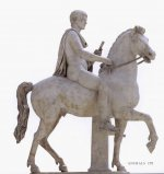 Marble statue of a youth on horseback