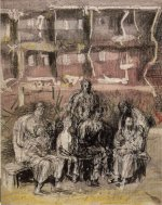 Henry Moore (1898-1986), Seven seated figures before ruined buildings