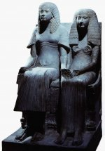 Limestone statue of an unnamed nobleman and his wife